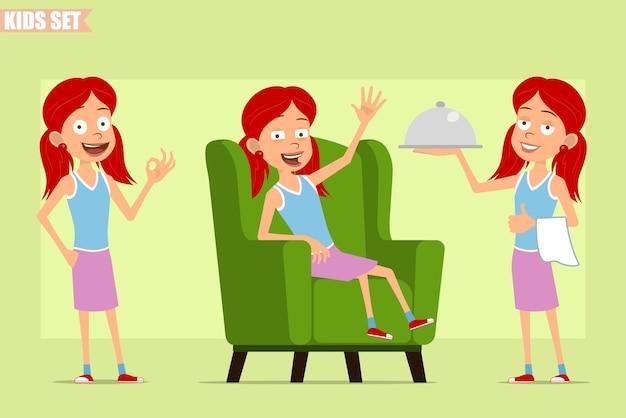 Dessin animé plat drôle petit personnage de fille rousse en jupe violette. enfant au repos, tenant le plateau du serveur et montrant le signe correct.