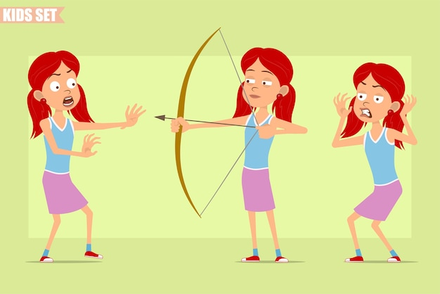 Dessin animé plat drôle petit personnage de fille rousse en jupe violette. enfant en colère, effrayé et tirant de l'arc.