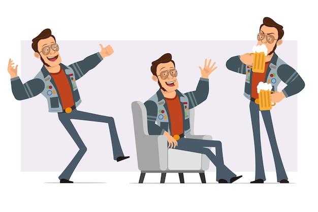 Dessin animé plat homme disco fort en veste de lunettes de soleil et de jeans. garçon buvant de la bière, montrant bonjour et signe de pouce en l'air.