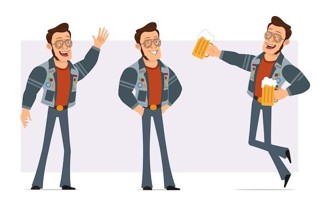Dessin animé plat homme disco fort en veste de lunettes de soleil et de jeans. garçon posant, montrant le geste bonjour et sautant avec chope de bière.