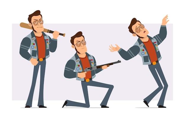 Dessin animé plat homme disco fort en veste de lunettes de soleil et de jeans. garçon retombant, tenant une batte de baseball et un fusil de chasse.