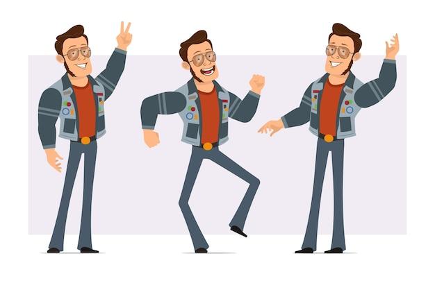 Dessin animé plat homme disco fort en veste de lunettes de soleil et de jeans. garçon sautant, dansant, montrant la paix et signe bonjour.
