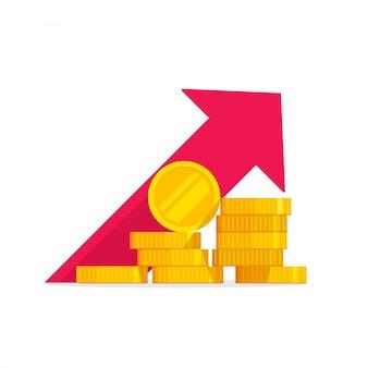 Dessin animé plat illustration de croissance financière