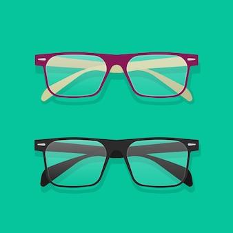 Dessin animé plat isolé de lunettes ou de lunettes