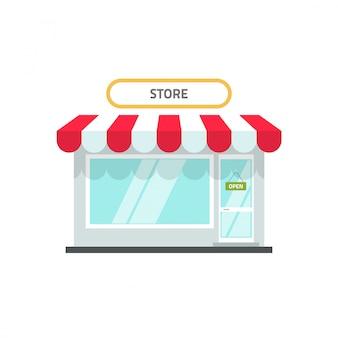 Dessin animé plat de magasin ou de magasin