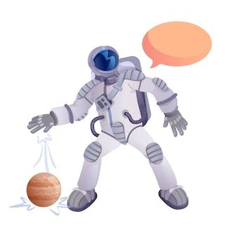 Dessin Animé Plat Mars Planète Explorateur. Astronaute. Vecteur Premium