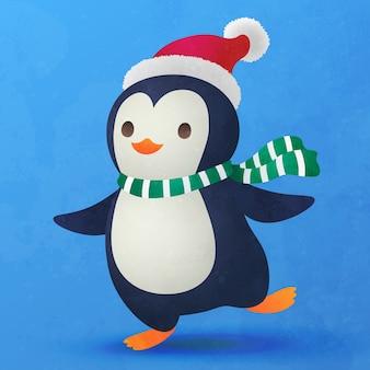 Dessin animé plat mignon petit pingouin pour la décoration de noël