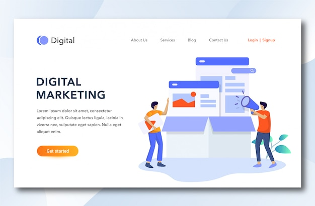 Dessin animé plat page de destination marketing numérique.