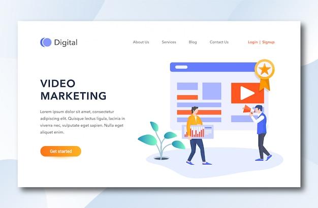 Dessin animé plat page de destination marketing vidéo.