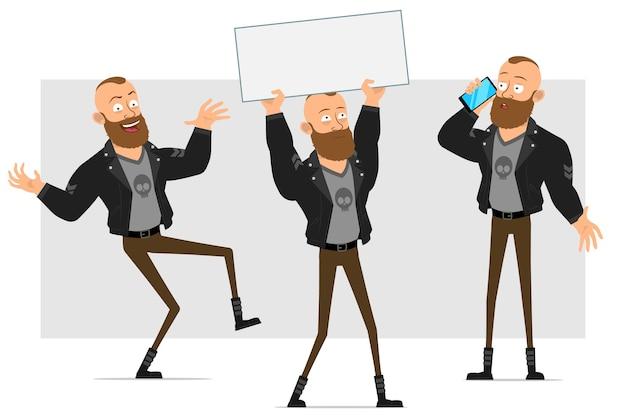 Dessin animé plat personnage fort barbu punk homme avec mohawk en veste de cuir. garçon parlant au téléphone et tenant une pancarte vide vide pour le texte.