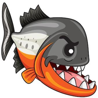 Dessin animé poisson piranha