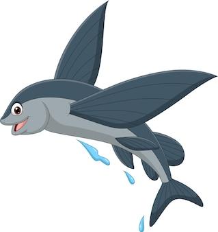 Dessin animé poisson volant sur fond blanc
