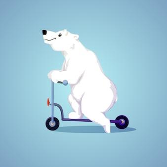 Dessin animé polaire souriant ours sur un scooter.