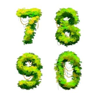 Dessin animé police tropicale vignes et buissons isolé, 7 8 9 0 glyphes
