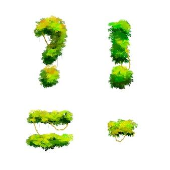 Dessin animé police tropicale vignes et buissons isolé, glyphes de ponctuation