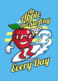 Dessin animé pomme et surf