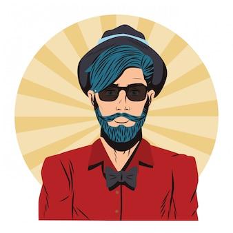 Dessin animé pop art hipster