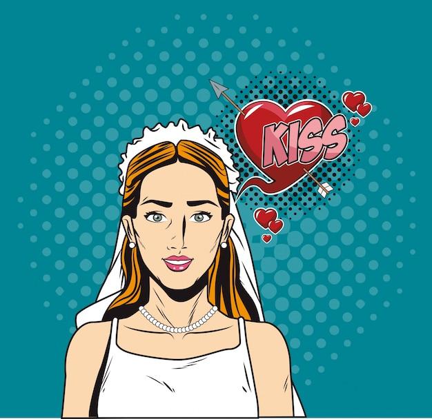 Dessin animé pop art de mariée