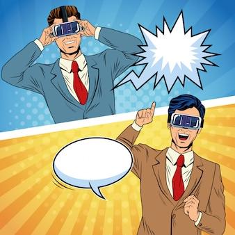 Dessin animé pop art de réalité virtuelle d'hommes d'affaires