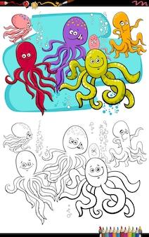 Dessin animé poulpe animaux personnages livre de coloriage page