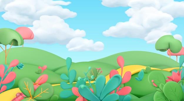 Dessin animé, printemps, paysage, 3d, fond