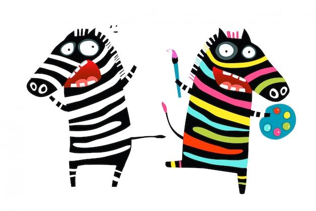 Dessin animé psychologique stressé et coloré de zèbres