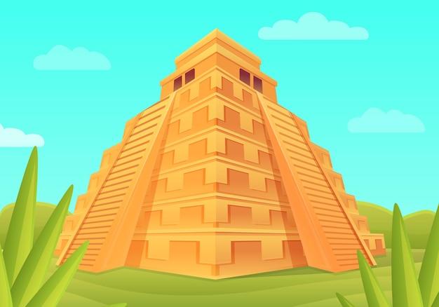 Dessin animé pyramide maya dans la jungle, illustration