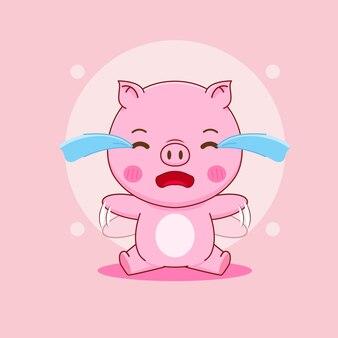 Dessin animé qui pleure de cochon
