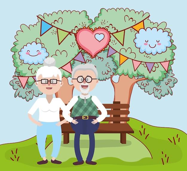 Dessin animé de relation amoureuse de grands-parents