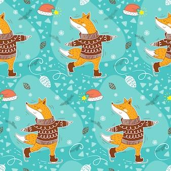 Dessin animé de renard hiver péttern sans soudure