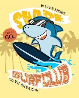 Dessin animé de requin sur la planche de surf