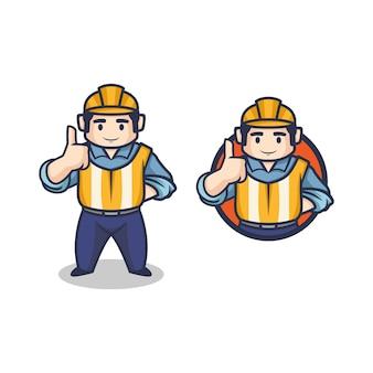 Dessin animé rétro entrepreneur vintage ou ouvrier du bâtiment faisant le logo de mascotte de personnage de pouce en l'air.