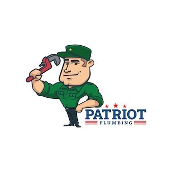 Dessin animé rétro mascotte de patriote plomberie vintage logo ou logo patriote