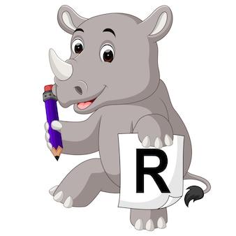 Dessin animé rhino tenant un crayon