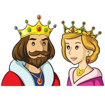 Dessin animé roi reine