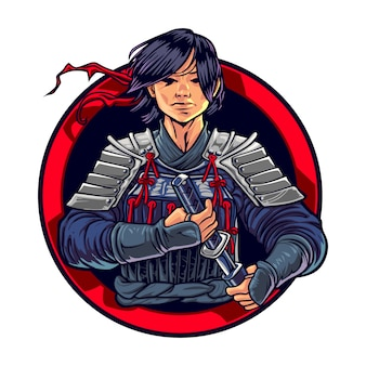 Dessin animé ronin samurai