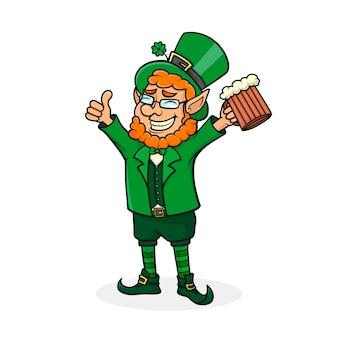 Dessin animé saint patrick. symbole de la fête nationale irlandaise.