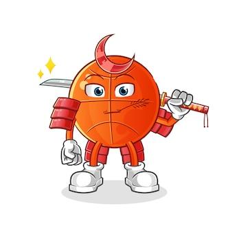 Dessin animé de samouraï de basket-ball. mascotte de dessin animé