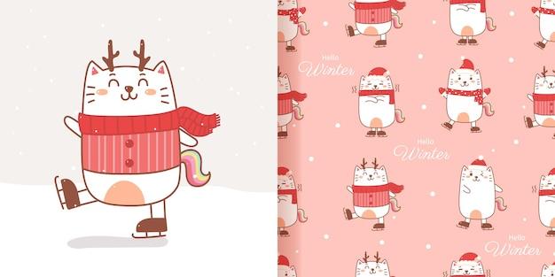 Dessin animé sans couture de chat licorne motif dessiner à la main pour noël