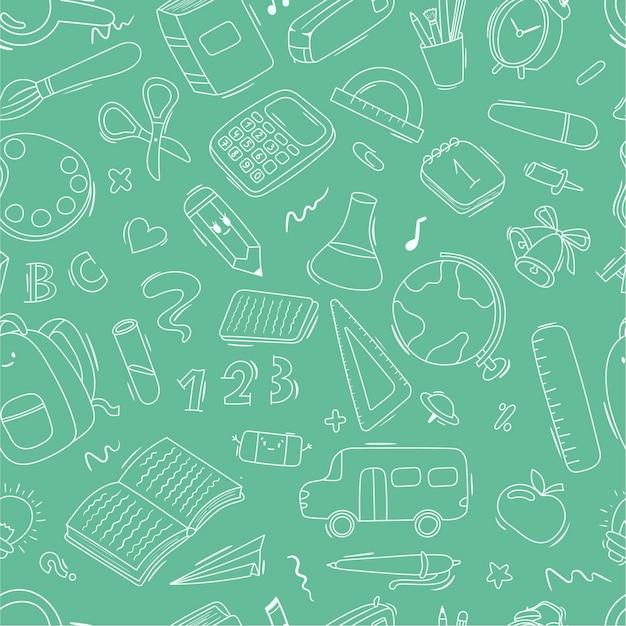 Dessin animé sans couture motif doodle fournitures scolaires et scolaires, papeterie, livres, sacs à dos, autobus scolaire. craie