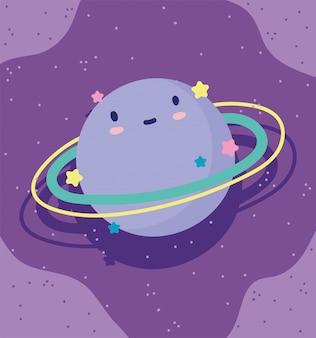 Dessin animé saturne planète étoiles ciel décoration fond violet illustration vectorielle