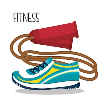 Dessin animé, saut, corde, baskets, fitness, conception, éléments