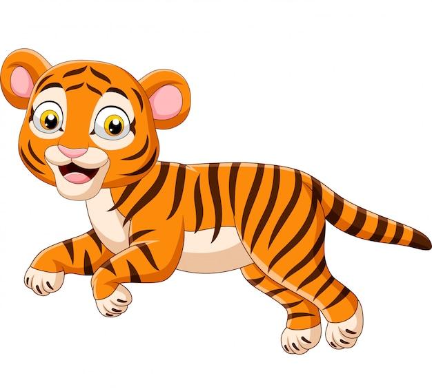 Dessin animé sautant bébé tigre isolé sur fond blanc