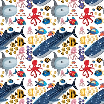 Dessin animé sea life seamless pattern avec des animaux marins
