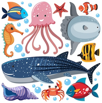 Dessin animé sea life seamless pattern avec personnage d'animaux marins