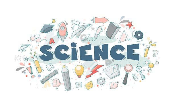 Dessin animé serti de petites personnes et symboles de l'éducation. doodle scène miniature mignonne de travailleurs avec des livres, une fusée.