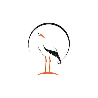 Dessin animé simple logo cigogne debout