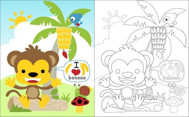 Dessin animé de singe et amis dans un jardin de bananes