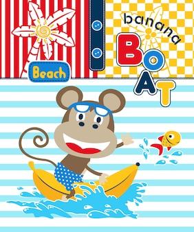 Dessin animé de singe sur le bateau de banane