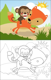 Dessin animé de singe équitation renard